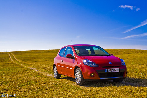 Renault Clio 2009 Face Lift Parked In A Harvested Field Front Quarter Shot by NWVT.co.uk.