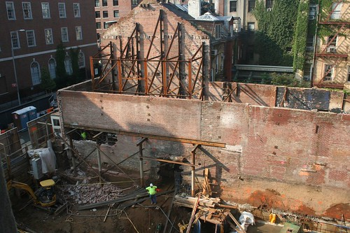 The damage down: At least two holes can be seen in the shell of the old theater. (Courtesy GVSHP)