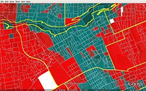 Circonscription de Ahuntsic - carte des résultats électoraux aux fédérales 2008