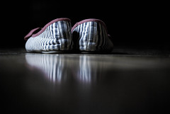Shoes. (CloserToTheSun) Tags: blue red scotland shoes floor stripes pair stripe ground flats lowsaturation