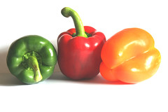 Peppers (Cameron_Mackenzie) Tags: red food orange green pepper healthy bright vibrant vegetable redpepper greenpepper simplistic orangepepper