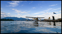 Swimmer's view of Harbour Air (Eric Flexyourhead (YVR catch-up mode!)) Tags: ocean blue sky canada water vancouver clouds plane airplane downtown waves bc britishcolumbia aircraft beaver cumulus otter burrardinlet puffy 169 harbourair seaplane coalharbour floats floatplane portofvancouver zd dhc2 dehavillandcanada dhc3 flickrsbest turbineotter olympuse3 918mm