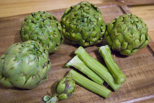 Artichokes peeled and ready to go