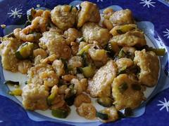 Lonza con cetrioli e gamberetti