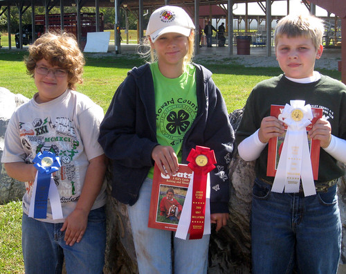 Junior goat skillathon winners (L-R) Kameron Dorsey, Maggie Goodmuth, and Cameron Lafevre.