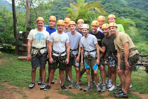 Ready to zip line at Canopy River in Puerto Vallarta