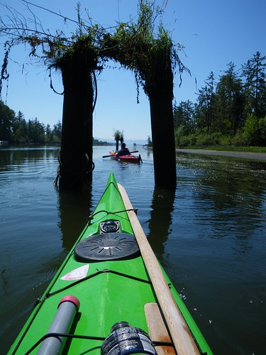 pilings and kayaks