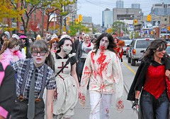 Zombie Walk Toronto 2009-0865 (sniderscion) Tags: street city red urban toronto ontario canada guy college halloween girl monster festival scott dead fun costume scary blood nikon downtown zombie walk makeup canadian creepy brains gore horror undead nightmare 2009 cultural ghoul snider d80 sniderscion lifeimpaired