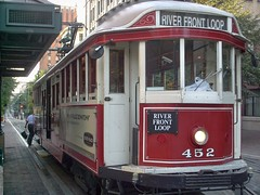 Refurbished former Melburne Australia W 2 class tram car # 452. The Memphis Main Street Trolley. Memphis Tennesee. September 2007.