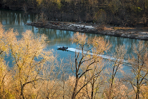 Castlewood State Park, in Saint Louis County, Missouri, USA - powerboat on the Meramec River 2