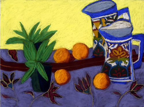 """Mexican Pitcher in Mirror - pastel on paper 22"""" x 30"""" $1100"""