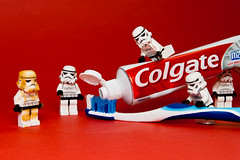 Scrubbing Time (KWG73) Tags: red toys starwars october lego cleaning clean toothpaste photoaday stormtrooper colgate toothbrush pictureaday project365 kwg73 2009325365