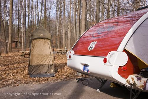 "Our camp setup - ""outhouse"" with Thetford Porta-Potti"