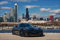 "427 ""Batman"" Corvette (jeremycliff) Tags: city blue cliff chicago black canon dark towers fast sigma jeremy chevy rig batman custom corvette vette z06 chevorlet 40d rigshot jeremycliff myacreativestudios myacreativecom myacreative batmancorvette"