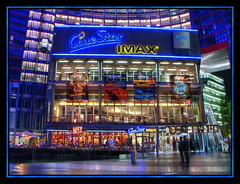 IMAX at Sony Center, Berlin (Mike G. K.) Tags: windows signs berlin colors night photoshop germany geotagged lights cafe nightshot sonycenter billboards imax blending cinestar exposureblending photomatix geo:lat=5251007 geo:lon=13373167