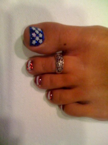 3D stars nail design for toe nails