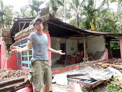 earthquake damaged home in West Sumatra, Indonesia that will be deconstructed by HODR volunteers