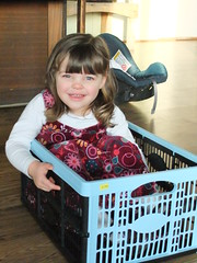 Natalie in the crate