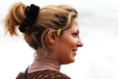 Happiness is in simplicity (hapal) Tags: portrait woman flower eye girl smile face look yellow turkey hair happiness ear iranian              canoneos40d   hamidnajafi