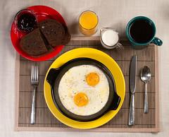 365 Breakfasts-360 Shirred Eggs (Walter Ezell) Tags: coffee breakfast fiesta silverware toast cream eggs 365 fiestaware creamer zd 50mmmacro20 shirredeggs