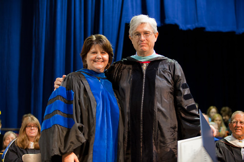 Interim Provost Laurie Joyner and Associate Professor of Education Scott Hewit