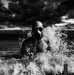 (Danielle_T) Tags: portrait blackandwhite man art beach strange face digital dark weird insane intense emotion digitalart dream surreal freaky creepy psycho scarey horror nightmare unusual splash mad lucid nasty andyrose danielletunstall gasmasksea