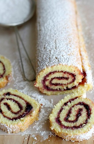 Raspberry Jelly Roll Cake