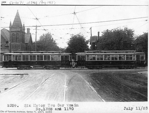 Currently, streetcars and buses run up and down Main St. In 1923, streetcars also ran East and West along Danforth.