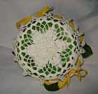 retro cestino al'uncinetto con fiocchi gialli inamidato con zucchero (uncinetto_patrizia) Tags: e di fiori con composizione zucchero cestino alluncinetto inamidato