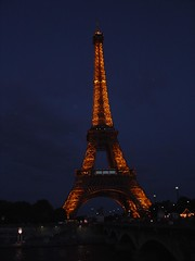 Night view of Eiffel Tower, Paris, France