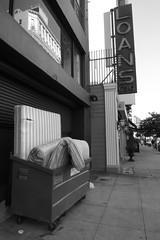 L1020645.JPG (ARTofCOOP) Tags: leica blackandwhite bw dumpster coop downtownla safe mattress loans dlux4