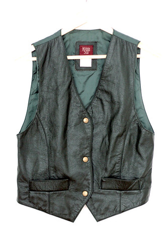 VINTAGE green leather vest