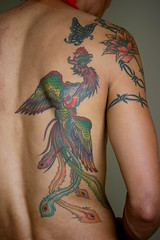 Ahrdie # 2 Bird of Paradise (just.Luc) Tags: man flower male bird fleur tattoo butterfly asian back uomo papillon dos barbedwire rug belgian colourful prikkeldraad oiseau indonesian hombre vogel homme vlinder bloem tatouage barbelé tatoeage ahrdie