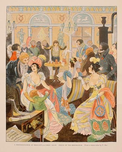 027-Un prestidigitador en un salon publico periodo de la restauracion