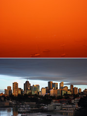 Dust & No Dust .... (Bruce Kerridge) Tags: city red sky orange cloud storm water weather architecture sunrise buildings dawn nikon diptych desert wind cloudy harbour yacht sydney australia stormy explore pollution dust neutralbay d80 utstandingimages