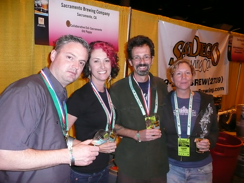 Vinnie & Natalie Cilurzo, from Russian River, with Ron & Laurie Jeffrie, from Jolly Pumpkin