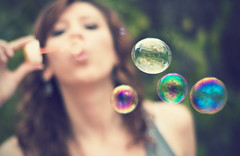 329/365... Bubbles!  (Desire Delgado) Tags: portrait me kids self garden 50mm nikon jardin bubbles colores 365 burbujas pompas jabon d40