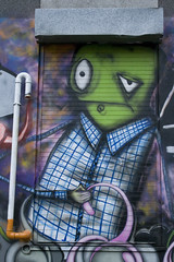 Another Day At The Office... (Alf's Work) Tags: street urban man green art wall canon manchester 350d paint grafitti spray luna visualart