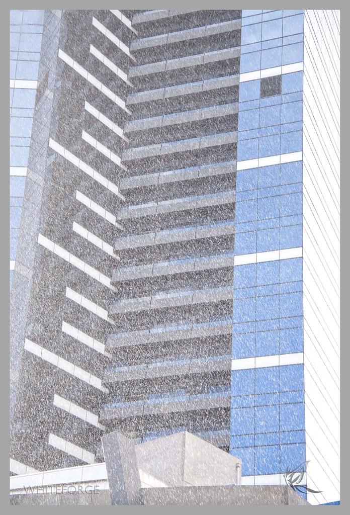 Hail against Eureka building in Melbourne