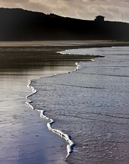 Gwithian Beach (doublejeopardy) Tags: sea beach water silhouette sand cornwall gwithian wavelet