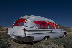 Pontiambulance (Lost America) Tags: lightpainting abandoned night stars nevada superior ambulance fullmoon pontiac tonopah startrails 1960 nocturnes bubbletop