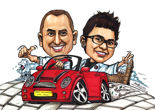 Couple on Mini Cooper convertible A4