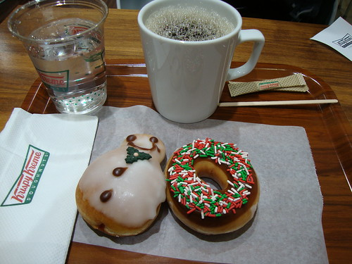 Our donuts, coffee and water