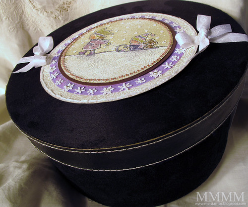 PGP snowy embossed Winter Wonderland HAT BOX mel stampz