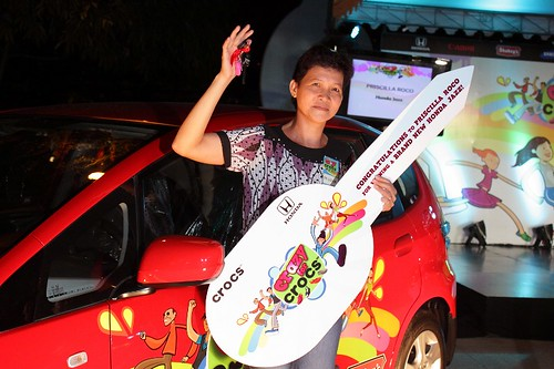 Priscilla Roco, the grand prize winner, is more than thrilled over winning a Honda Jazz