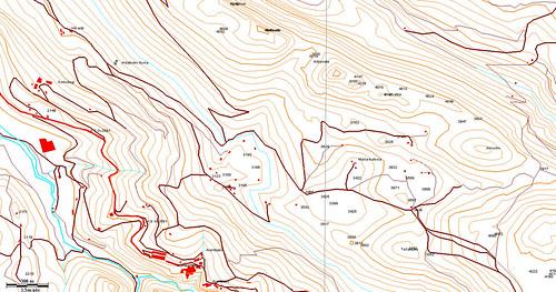 Ejemplo del mapa vectorial TopoHispania, zona Arantzazu Aloña (macizo de Aizkorri, Gipuzkoa)