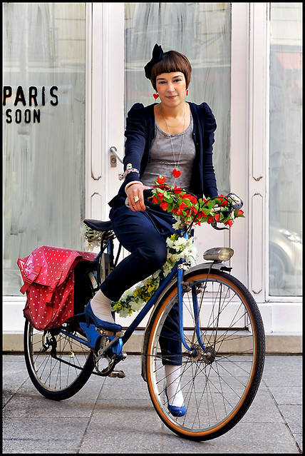 Chic Parisienne on a bike