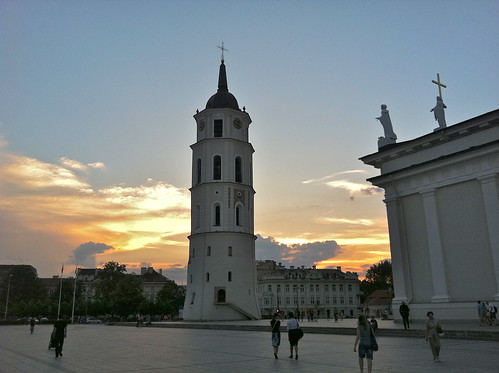 Sunset over the Cathedral and Main Square (Vilnius, Lithuania)
