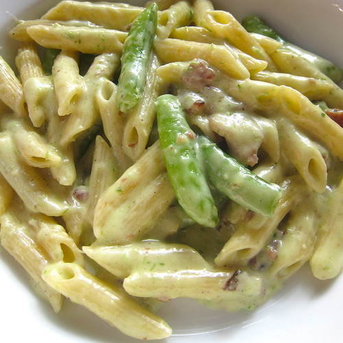 Pasta with Peas and Bacon in Green Garlic and Chive Pesto Sauce