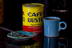Coffee's On! (brucetopher) Tags: flickrfriday primarycolors primary colors red yellow blue black reflection coffee mug roundhandle fiesta ware fiestaware spoon coffeecup cup drink breakfast cafe bustelo espresso reflect